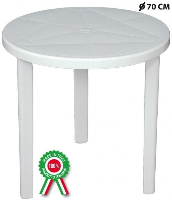 Tavolo In Plastica Bianco.Tavolo Tondo Diametro 70 Cm Milano In Plastica Bianco Con Foro Per Ombrellone